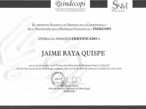 certificado calibracion de balanzas clase 1 y clase2 - indecopi